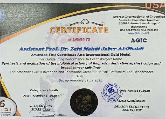 The American Everest Organization awards Dr. Zaid Khader Mahdi the Golden Medal for the distinguished patent
