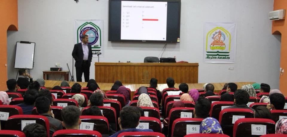 جهاز الأستجابة الالكترونية في اداء الأمتحانات الطلابية لاول مرة في الجامعات العراقية كلية الطب جامعة كربلاء