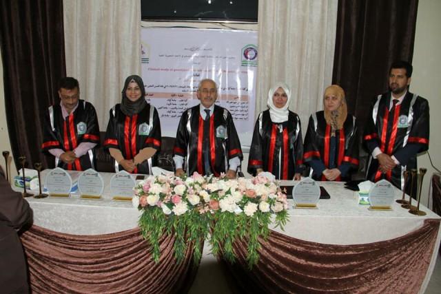 رئيس جامعة كربلاء يحضر مناقشة رسالة ماجستير في كلية الطب وعميد الكلية رئيسا في لجنة المناقشة