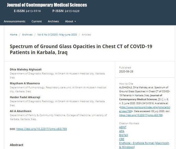 باحث من جامعة كربلاء ينشر بحثا مميزا في مجلة علمية رصينة حول جائحة كورونا كوفيد -19