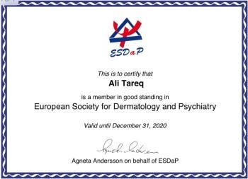 انضمام احد تدريسي كلية الطب - جامعة كربلاء كعضو في الجمعية الاوربية للعلوم الجلدية النفسية