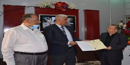 The Dean of the College of Medicine, University of Karbala, accompanied by the Chairman of the Committee of Deans of Medical Colleges in Iraq, meet with the Director General of the Holy Karbala Health Department